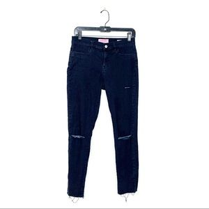 Pacsun Ankle Jegging Destroyed Mid Rise Dark Blue